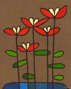 """Burlap Botanical Salvia Orange"" wall art decor by Lisa Dejohn for GreenBox Art + Culture $159"