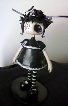 Amelia cute goth lolita doll handmade from polymer clay. $85.00, via Etsy.