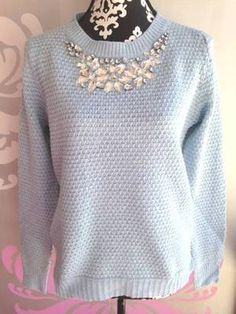 Winter blue sweater with jeweled neckline. Adorable sweater.