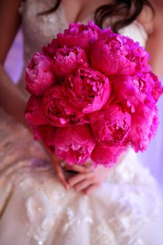 Large Peony Bridal Bouquet - Fuchsia Peony Real Touch Wedding Bouquet and Groom's Boutonnière - Real Touch Flowers - Custom Wedding Flowers