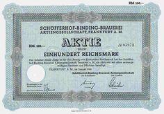 Schöfferhof-Binding-Brauerei,Frankfurt 100 RM, 1942