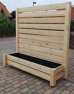 Screen fence Fence Larch Flower box H 180 x B 200 Wind protection Planter NEW - Backyard Decoration Privacy Planter, Garden Privacy, Privacy Screen Outdoor, Backyard Privacy, Backyard Fences, Backyard Landscaping, Herb Garden Design, Diy Garden Decor, Ideas Estanque