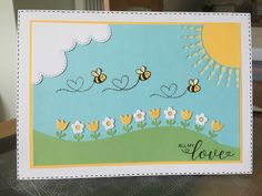 Made with Lawn fawn bee mine stamps, lawn fawn flower border die and sue wilson cloud die Happy Birthday Kids, Honey Bee Stamps, Lawn Fawn Stamps, Bee Cards, Handmade Birthday Cards, Scrapbook Cards, Sue Wilson, Bees, Cardmaking