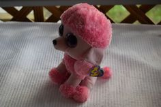 """Ty Beanie Boos PRINCESS The POODLE 9.5"""" Pink Plush Dog with Big Eyes & Hang Tag #Ty"""