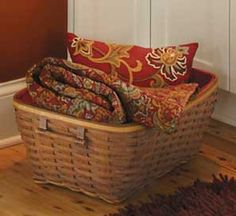 One of my favorite baskets in my favorite stain & with the Crimson Hill throw I love in it.