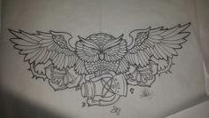 Owl lantern & roses tattoo