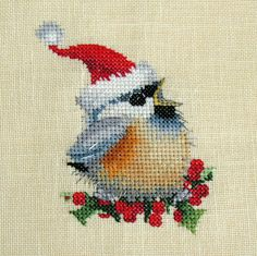 Completed Cross Stitch Christmas Chickadee by PuppyLoveCreations, $35.00