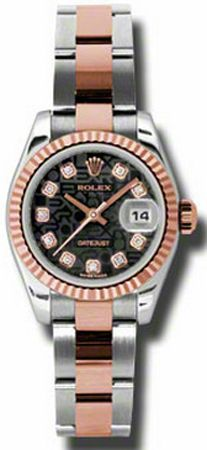 179171  ROLEX DATEJUST OYSTER PERPETUAL LADIES LUXURY WATCH    Usually ships within 4 weeks - FREE Overnight Shipping- NO SALES TAX (Outside California) - WITH MANUFACTURER SERIAL NUMBERS- Black Diamond Dial- Fluted 18K Rose Gold Bezel   - Self Winding Automatic Movement- 3 Year Warranty- Guaranteed Authentic - Certificate of Authenticity- Polished Steel and 18K Rose Gold Oyster Bracelet- Scratch Resistant Sapphire Crystal- Manufacturer Box