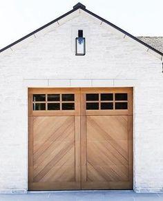Cielo - Herringbone Spanish Style Custom Wood Garage Door Our Spanish and Craftsman Wood Doors Collection incorporates handcrafted wood, which enhance Garage Door Sizes, Wood Garage Doors, Garage Door Design, Modern Garage Doors, Custom Garage Doors, Garage Exterior, Exterior Paint, Barn Garage, Single Garage Door
