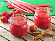 Home-made Strawberry & Rhubarb Jam (low-carb, paleo, <1 gram net carbs per tablespoon). Learn how to use chia seeds to make your own sugar and pectin free jams!