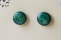 Dark Teal Studs pearl green stud earrings green от JewelryBest
