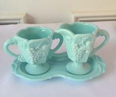 "Milk Glass w / Color  . . .    Fostoria ""Vintage"" Sugar and Creamer with Tray in Aqua Milk Glass 1950's"