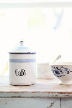 Vintage French Cafe Enamelware Canister