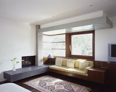Love the large open windows, wood work and modern design. Modern Fireplace Mantel Design, Pictures, Remodel, Decor and Ideas - page 31