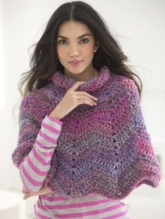 Softly Rippled Poncho, free crochet pattern at lionbrand.com. Make it with soft and cozy Homespun!