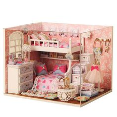 Kits DIY Wood Dollhouse miniature with LED+Furniture+cover Doll house room NEW