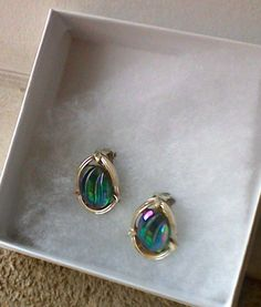 Vintage Iridescent Blue Green Oval Rhinestone Clip On Earrings By Designer BSK    eBay