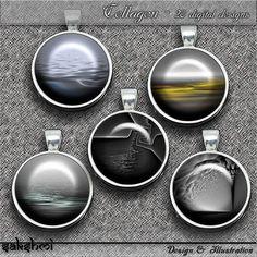 Fraktale Landschaften – Digital Design - 20 Buttons zum Ausdrucken. 300 DPI