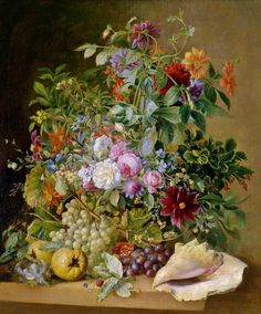 Arnoldus Bloemers — Large Decorative Still Life with Flowers, Bird's Nest, Pomegranates and Mussels Art Floral, Botanical Flowers, Botanical Art, Botanical Illustration, Illustration Art, Rose Flower Arrangements, Still Life Flowers, Art Courses, Dutch Artists
