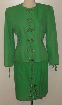"Retro & Unusual BILL BLASS 2pc ""Haute Couture"" SPRING GREEN Skirt Suit - Sz. 6  #BillBlass"