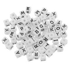 35 XL Buchstaben Perlen 12mm weiß Alphabet ABC Würfel Namen Armband letter beads | Buchstaben Perlen | Perlen | günstig kaufen bei Bacabella.com | Perlen, Schmuck und Schmuckzubehör zum Schmuck selber machen | Schmuck basteln DIY DoItYourself | ganz individuell und einfach | Schmuckperlen