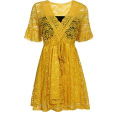 Yoins Yellow Sexy Perspective V-neck Lace Mini Dress (550 UAH) ❤ liked on Polyvore featuring dresses, yellow, lace fit-and-flare dresses, party dresses, short sleeve cocktail dresses, yellow cocktail dress and lace dress
