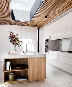 Polished concrete floor, timber kitchen island, marble bench top & timber detailing on the ceiling - Tenplestow House, my dream kitchen! styled by Ruth Welsh & designed by Lori Blachford - Kitchen Today Timber Kitchen, New Kitchen, Kitchen White, Kitchen Ideas, Kitchen Decor, Kitchen Island Bench, Kitchen Islands, Timber Ceiling, Ceiling Cladding