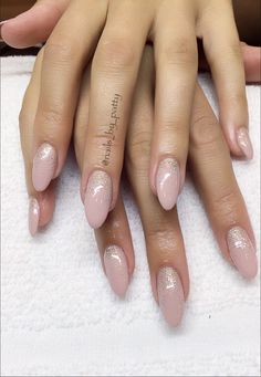 Nude almond shape sculpted hard gel nails
