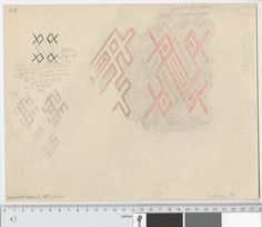 Oseberg Findings from folder 'Oseberg textiles - textile fragment no. 21, 24' textile fragment 24. Pencil Drawing by Gabriel Gustafson, partially colored with red pen. Dimensions: W: 28 cm, H: 21.5 cm.