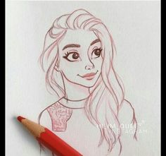 Dessiné Cartoon Girl Drawing, Anime Drawings Sketches, Cool Art Drawings, Pencil Art Drawings, Cartoon Drawings, Cartoon Art Styles, Sketch Painting, Character Drawing, Illustration Art