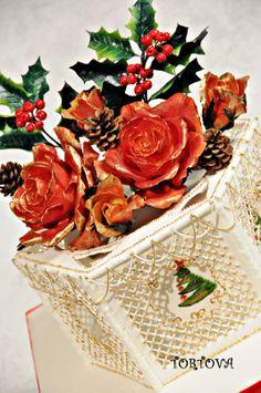 Fruit Cake with gumpaste flowers