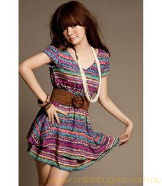 Ethnic Style Iridescence Stripe Print Short Sleeve Summer Dress With Belt For Women Summer Dresses Online, Cute Summer Dresses, Pretty Dresses, Dresses 2013, Dresses Dresses, Summer Clothes, Beautiful Dresses, Short Dresses, Mini Dresses For Women