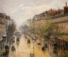 Boulevard Montmartre Pluie de Printemps  Passarro utilise diffèrent nuances de jaune pour montrer pleut. Cette photo est très détaille. La ville regarde très français. Passarro aime utiliser ton de terre dans son peintures. Le ciel est gris.