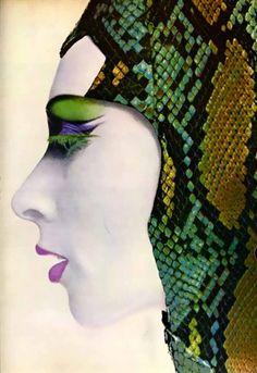 Wilhelmina Cooper in a vintage headpiece, Vogue, 1960s.