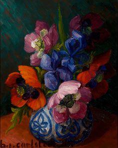 Unikkoja maljakossa / Poppies in a Vase, 1945, Carlstedt, Birger. Finnish (1907 - 1975)