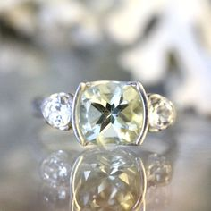 Green Amethyst And White Topaz Sterling Silver by louisagallery