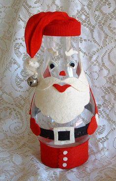Vintage Mid Century Handmade Craft Hurricane Lamp Top & Felt Santa Claus Figure