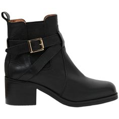 CARVELA KURT GEIGER 50mm Sadie Leather Ankle Boots - Black ($150) ❤ liked on Polyvore featuring shoes, boots, ankle booties, botas, ankle boots, black, leather booties, black buckle boots, black bootie boots and short leather boots