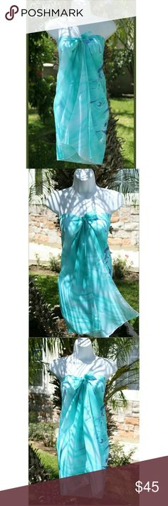 """⭐NEW! Beautiful Butterfly Hawaiian Sarong Turquoise Green Butterflies  Sheer Sarong  Wrap it into a dress, skirt, or swimsuit cover-up  Use as a shawl, scarf, head accessory, or wall hanging  Size: 56"""" x 38""""   Fits XS - Large   100% Polyester • Soft/Flowy • Beautiful Quality!  Made in the U.S.A   New in package   ▪ Price is Firm  ▪ No Trades  ▪ Fast Shipping Moda Ragazza  Swim Sarongs"""