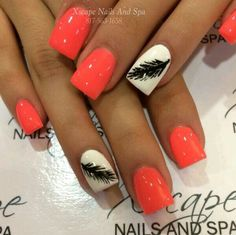 Feather nail designs will look very pretty and unique for girls. It is being a best way to make a statement with your nails. Feather Nail Designs, Feather Nail Art, Orange Nail Designs, Cute Nail Designs, Feather Design, Pretty Designs, Tropical Nail Designs, Fabulous Nails, Gorgeous Nails