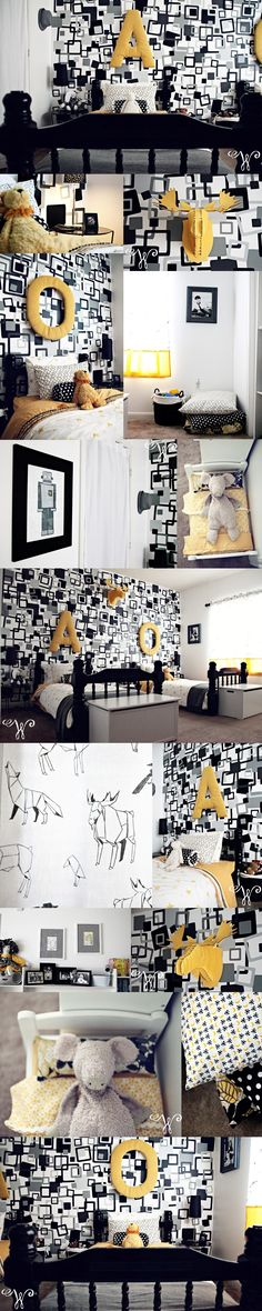 black + white + grey + yellow... love the black beds with the yellow accents