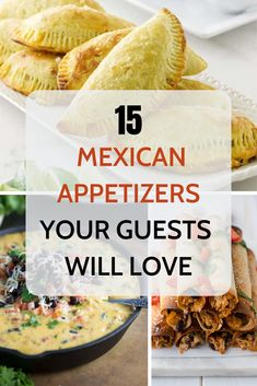 for Mexican party food ideas for your next get-together? You HAVE to try these 15 Mexican appetizers! From queso to empanadas and taquitos, your guests will ooh and ahhh over these awesome apps. Mexican Potluck, Mexican Dinner Party, Mexican Snacks, Mexican Menu, Dinner Party Recipes, Mexican Dishes, Mexican Food Recipes, Mexican Theme Parties, Mexican Food For Party