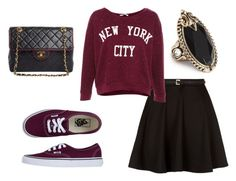 """Sem título #182"" by catarina22pereira ❤ liked on Polyvore featuring Pull&Bear, Vans, GUESS and Chanel"