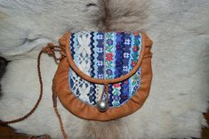 Modern sisna bag, with flower ribbons. Handmade in Finland. Jeans Fabric, Folk Costume, Modern Outfits, Saddle Bags, Reindeer, Primitive, At Least, Buy And Sell, Just For You