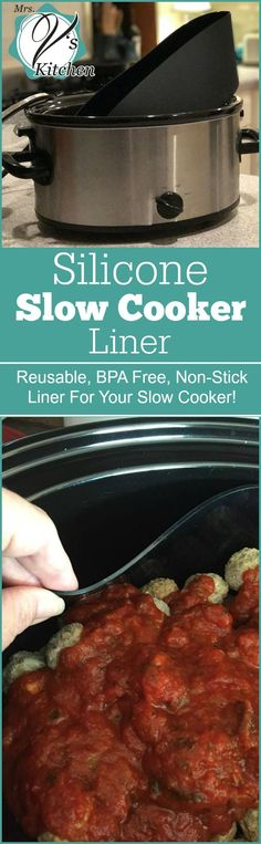 Silicone Slow Cooker Liners By Mrs. V's Kitchen Review  - Awesome product to help make slow cooker clean up easier. Reusable liners for your Crock-Pot that you can wash over and over again! via @CrockPotLadies