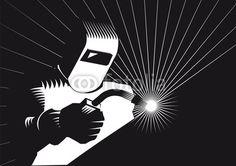 Welders for welding Illustration with Adobe Illustrator by Eric Scherrer Welding Logo, Adobe Illustrator Cs6, Garage, Abstract, Logos, Illustration, Artwork, Soldering, Carte De Visite