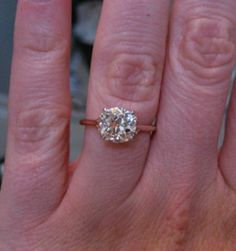 A favorite... Haven's O-P color, SI1, 2.3 carat Old Mine Brilliant diamond, ring in rose gold. *sigh*