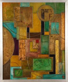 'Containment 12' by Ben Fearnside. 730 x 600 mm (Height x width including silver gilt frame). Silver, copper, bronze, gold-leaf, acrylics and shellac on canvas. Available to buy.