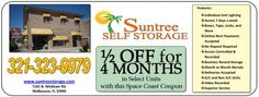 Get 50% OFF Selected Units For 4 Months @ Suntree Self Storage, N. Wickham Rd, Melbourne, FL.  http://spacecoastcouponsofbrevard.com/coupons/suntree-self-storage