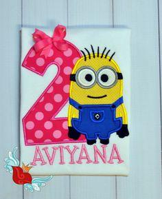 Minion Birthday Shirt Number Applique Photo prop by bowsandgirls